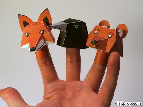 http://digitprop.com/2011/12/three-finger-doll-animals/