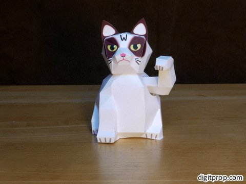 Maneki Neko Paper Toy - Grumpy Cat Version